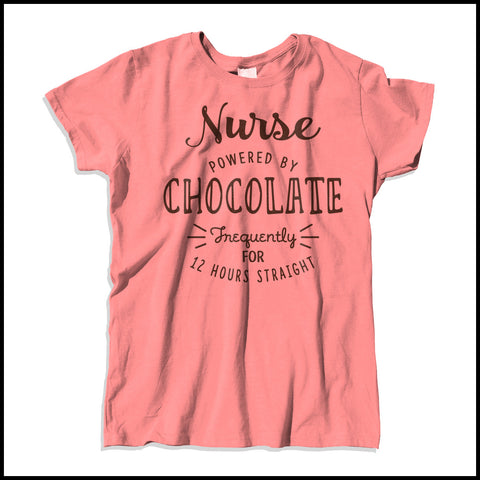 MISSY NURSE T-SHIRT • NURSE: POWERED BY CHOCOLATE! • Free Shipping! - MSST-4428 - Rhino Junction Apparel - 2