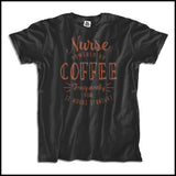 "ADULT NURSE T-SHIRT • Cute Text Design- ""Nurse: Powered by Coffee!""- ASST-4429 - Rhino Junction Apparel - 4"