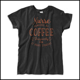 "MISSY NURSE T-SHIRT • Awesome Text Design- ""Nurse: Powered by Coffee!""- MSST-4429 - Rhino Junction Apparel - 4"