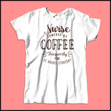 "MISSY NURSE T-SHIRT • Awesome Text Design- ""Nurse: Powered by Coffee!""- MSST-4429 - Rhino Junction Apparel - 2"