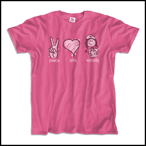 ADULT NURSE T-SHIRT - PEACE • LOVE • NURSES! • Cute Nurse Tee!  -ASST-4432 - Rhino Junction Apparel - 2