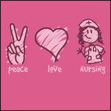 JUNIORS NURSE T-SHIRT - PEACE • LOVE • NURSES! • Cute Nurse Tee!  -JSST-4432 - Rhino Junction Apparel - 1