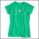 JUNIORS NURSE T-SHIRT - PEACE • LOVE • NURSES! • Cute Nurse Tee!  -JSST-4432 - Rhino Junction Apparel - 3