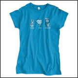 JUNIORS NURSE T-SHIRT - PEACE • LOVE • NURSES! • Cute Nurse Tee!  -JSST-4432 - Rhino Junction Apparel - 2