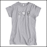 JUNIORS NURSE T-SHIRT - PEACE • LOVE • NURSES! • Cute Nurse Tee!  -JSST-4432 - Rhino Junction Apparel - 4