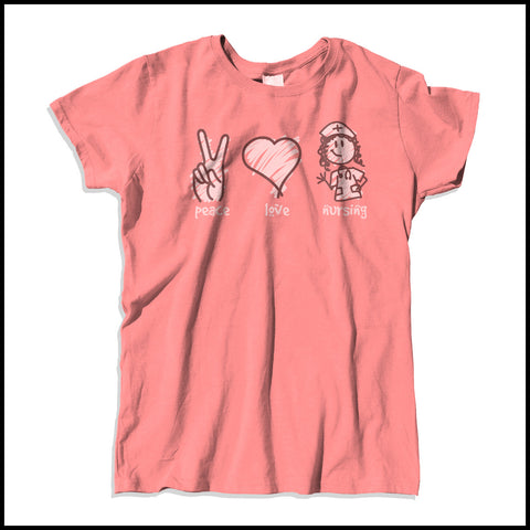 MISSY NURSE T-SHIRT - PEACE • LOVE • NURSES! • Cute Nurse Tee!  -MSST-4432 - Rhino Junction Apparel - 2