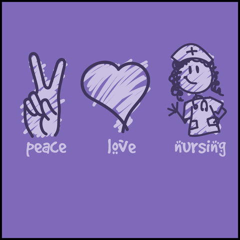 MISSY NURSE T-SHIRT - PEACE • LOVE • NURSES! • Cute Nurse Tee!  -MSST-4432 - Rhino Junction Apparel - 1
