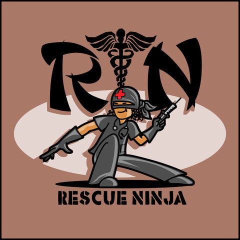 JUNIORS NURSE T-SHIRT • RN stands for RESCUE NINJA! Cool Graphic Tee! JSST-4434 - Rhino Junction Apparel - 1