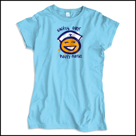 JUNIORS NURSE T-SHIRT • SHIFT'S OVER = HAPPY NURSE Smiley Face Tee!  -JSST-4438 - Rhino Junction Apparel - 3