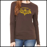 NURSES-LADIES LONG SLEEVE  • I WORK NIGHT SHIFT-I AM BAT NURSE!- LLST-4405 - Rhino Junction Apparel - 3
