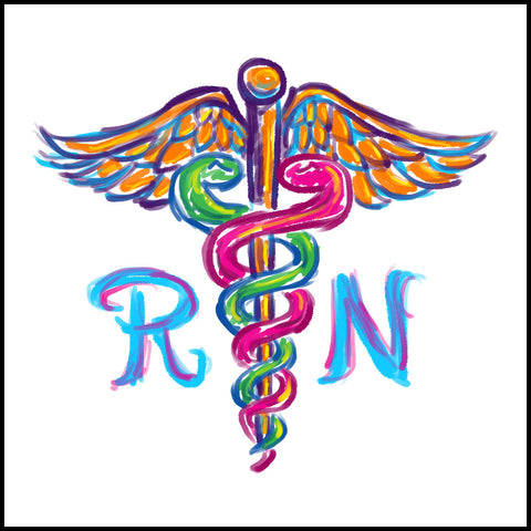 ADULT NURSE T-SHIRT • Colorfully Painted Brush Stroke Caduceus Design-ASST-4406 - Rhino Junction Apparel - 1