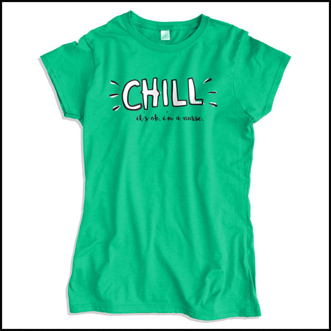 "JUNIORS NURSE T-SHIRT •""CHILL...I'm a Nurse"" Graphic Tee-Free Shipping! • JSST-4411 - Rhino Junction Apparel - 2"