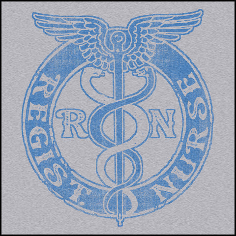 JUNIORS NURSE T-SHIRT • VINTAGE FADED RN CADUCEUS TEE • JSST-4418 - Rhino Junction Apparel - 1