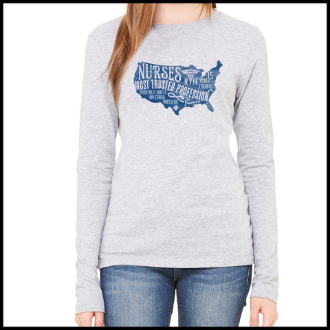 NURSES-LADIES LONG SLEEVE  • Nurses-The Most Trusted Profession LST    LLST-4424 - Rhino Junction Apparel - 2