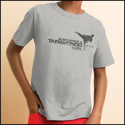 Favorite Boys TAE KWON DO T-SHIRT  - Blood Sweat & TaeKwonDo Design! -YBST417 - Rhino Junction Apparel - 3