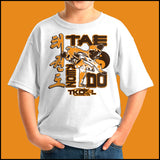 Awesome Kick! Boys Youth TAEKWONDO T-SHIRT - Awesome Kick!  GREAT GIFT -YBSS450 - Rhino Junction Apparel - 4