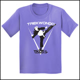 THE GIRL CAN KICK!  GREAT GIFT TAEKWONDO T-SHIRT -Tournament Style! - YGST452 - Rhino Junction Apparel - 2