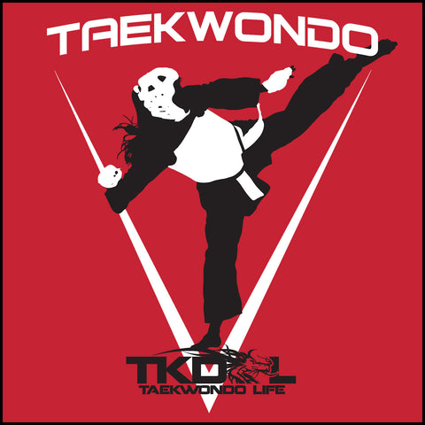 THE GIRL CAN KICK!  TAEKWONDO T-SHIRT -Tournament Style! - MST452 - Rhino Junction Apparel - 1