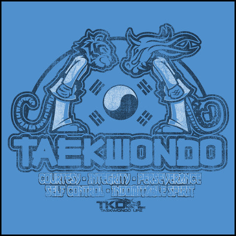 Taekwondo T-Shirt -Tiger & Dragon Bowing Vintage Design!- YLST-437 - Rhino Junction Apparel - 1