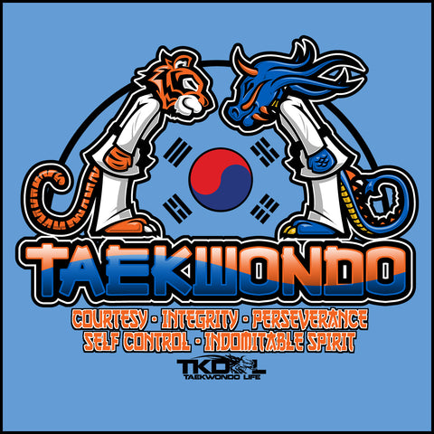 Tiger VS Dragon!- Taekwondo T-Shirt- FREE SHIPPING -YLST-416 - Rhino Junction Apparel - 1