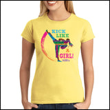GIRL KICK! - TAEKWONDO GRAPHIC TEE -Kick Like a Girl! -JSST419 - Rhino Junction Apparel - 2