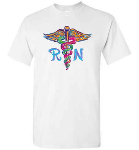 ADULT NURSE T-SHIRT • Colorfully Painted Brush Stroke Caduceus Design-ASST-4406