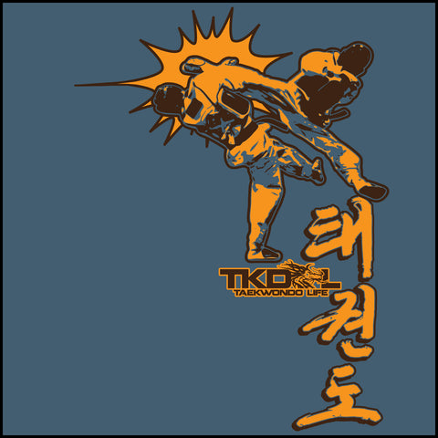 Taekwondo T-Shirt -Spinning Head Kick Design! - It Rocks!  YSST-436 - Rhino Junction Apparel - 1