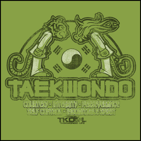 Taekwondo T-Shirt -Tiger & Dragon Bowing Vintage Design!- AST-437 - Rhino Junction Apparel - 1