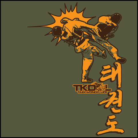 Taekwondo T-Shirt -Spinning Head Kick Design! - FREE SHIPPING AST-436 - Rhino Junction Apparel - 1