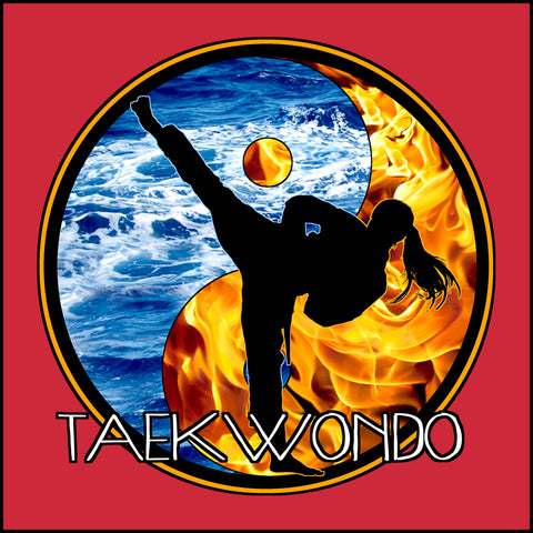Fire VS Water - TAEKWONDO T-SHIRT - Um-Yang / Yin-Yang Design - MST427 - Rhino Junction Apparel - 1