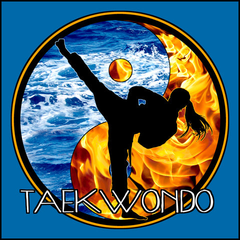 Fire VS Water - TAEKWONDO T-SHIRT - Um-Yang / Yin-Yang Design - YGLS-427 - Rhino Junction Apparel - 1