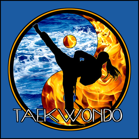 Fire VS Water - TAEKWONDO T-SHIRT - Um-Yang / Yin-Yang Design - YGSS-427 - Rhino Junction Apparel - 1