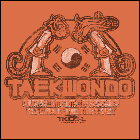 Taekwondo T-Shirt -Tiger & Dragon Bowing Vintage Design!- MST-437 - Rhino Junction Apparel - 1