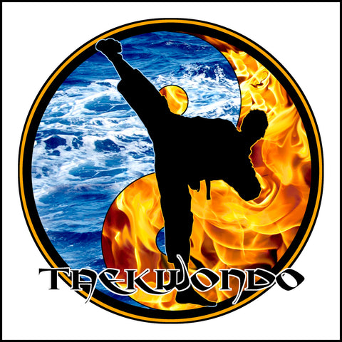 Fire VS Water- TAEKWONDO T-SHIRT - Yin Yang Design - AST426 - Rhino Junction Apparel - 1