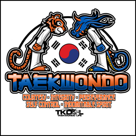 Tiger VS Dragon!- Taekwondo T-Shirt- COOL ART! -YSST-416 - Rhino Junction Apparel - 1