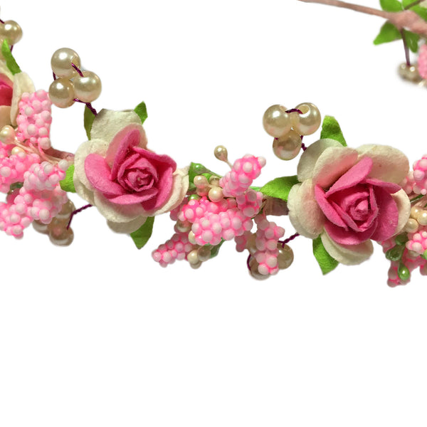 Strawberry Floral Hair Wreath - Crochita - 2