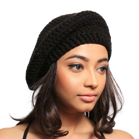 Black Beauty Slouch Beret Crochet Hat - Crochita - 1
