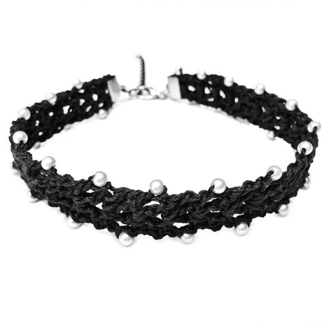 Crochet Black Choker Necklace - Crochita - 1