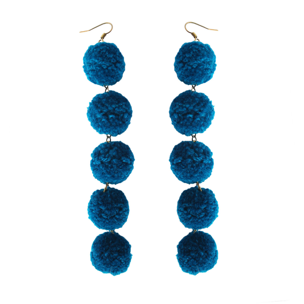 Blue Deep Water 5 Drop Pom Pom Earrings