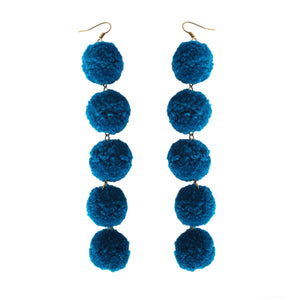 Bluestone Pom Pom Drop Earrings