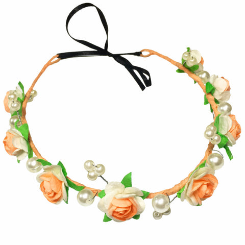 Peachy blues Hair Wreath - Crochita