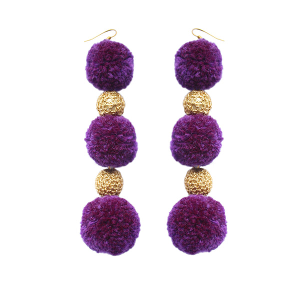 Violet 3 Drop Pom Pom Earrings