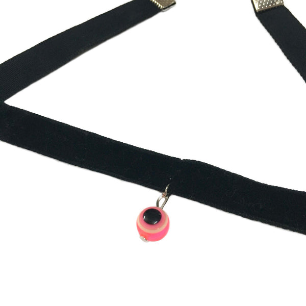 Pink Evil Eye Charm Choker  Necklace - Crochita - 2