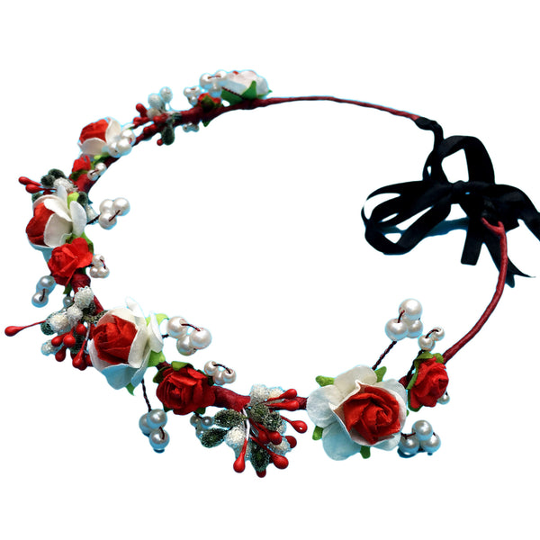 Ruby Red Floral Hair Wreath - Crochita - 1