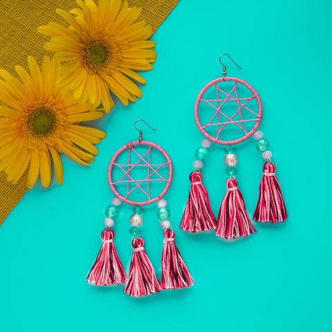 Bubblegum Dream Catcher Tassel Earrings