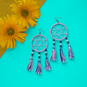 Lilac Dream Catcher Tassel Earrings