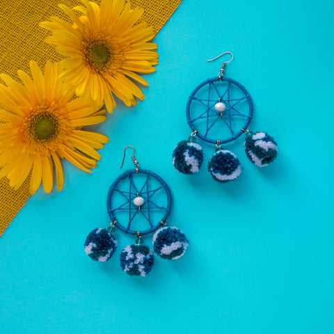 Nautical Pom Pom Earrings