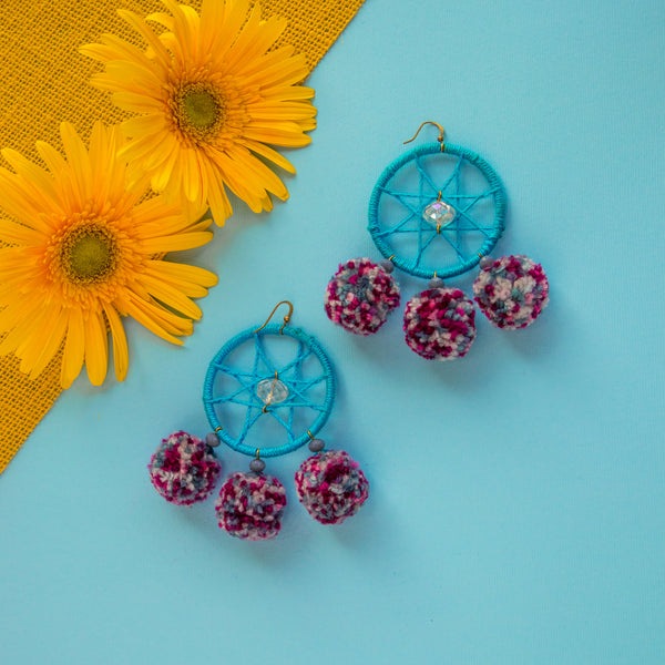 Magenta Dream Catcher Pom Pom Earrings