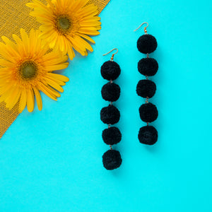 Noir Pom Pom Drop Earrings