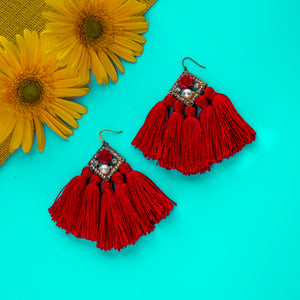 Fiery Red Tassel Earring